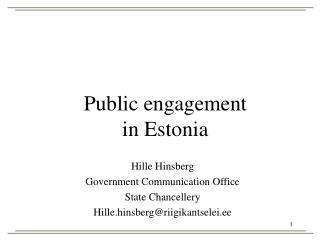 Public engagement  in Estonia