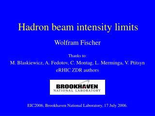 Hadron beam intensity limits