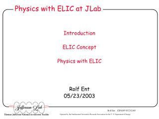 Physics with ELIC at JLab