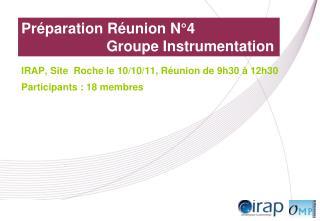 Préparation Réunion N°4 Groupe Instrumentation