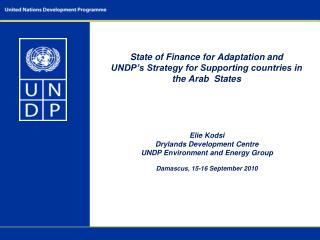 State of Finance for Adaptation and UNDP's Strategy for Supporting countries in the Arab  States