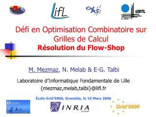 Défi en Optimisation Combinatoire sur Grilles de Calcul Résolution du Flow-Shop