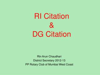RI Citation & DG Citation