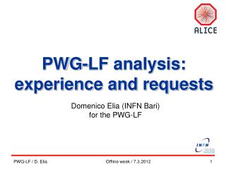 PWG-LF analysis: e xperience and requests
