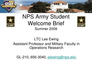 NPS Army Student Welcome Brief Summer 2009
