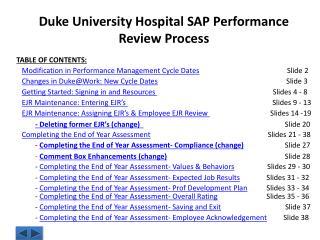 Duke University Hospital SAP Performance Review Process