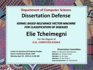 Elie Tcheimegni   For the Degree of D.Sc. COMPUTER SCIENCE