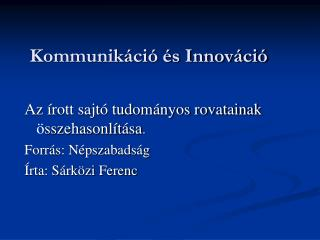 Kommunikáció és Innováció