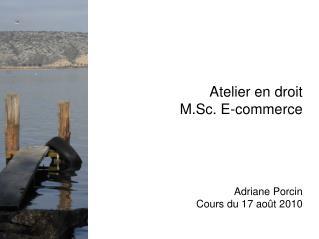 Atelier en droit M.Sc. E-commerce Adriane Porcin Cours du 17 août 2010