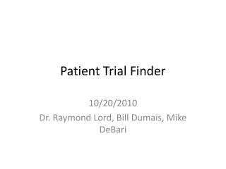 Patient Trial Finder