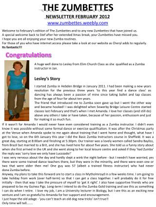 THE ZUMBETTES NEWSLETTER FEBRUARY 2012 zumbettes.weebly