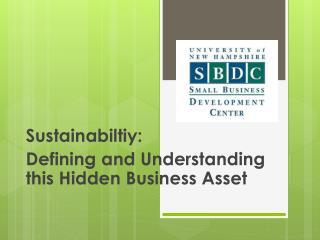Sustainabiltiy:  Defining and Understanding this Hidden Business Asset
