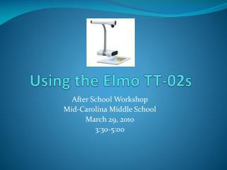 Using the Elmo TT-02s