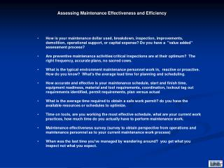 """Do you have a """"value added"""" assessment process?"""