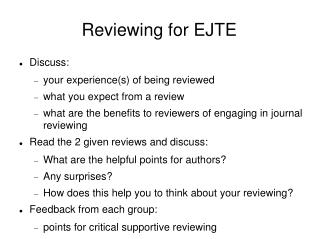 Reviewing for EJTE