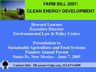 Howard Learner Executive Director Environmental Law & Policy Center Presentation to