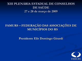 XIII PLENÁRIA ESTADUAL DE CONSELHOS DE SAÚDE 27 e 28 de março de 2009