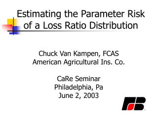 Estimating the Parameter Risk of a Loss Ratio Distribution
