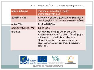VY_32_INOVACE_Čj.4.19-Slovesný  způsob-prezentace