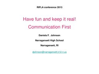RIFLA conference 2013