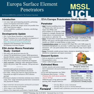 Europa Surface Element Penetrators