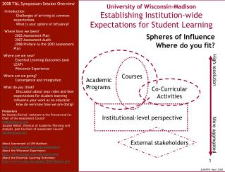 University of Wisconsin-Madison Establishing Institution-wide Expectations for Student Learning