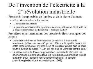 De l�invention de l��lectricit� � la 2� r�volution industrielle