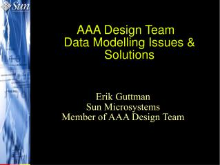 AAA Design Team Data Modelling Issues & Solutions