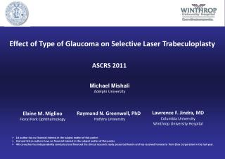 Effect of Type of Glaucoma on Selective Laser Trabeculoplasty