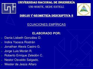 UNIVERSIDAD NACIONAL DE Ingeniería UNI-NORTE, SEDE ESTELÍ. DIBUJO Y GEOMETRÍA DESCRIPTIVA 2