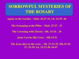 SORROWFUL MYSTERIES OF  THE ROSARY