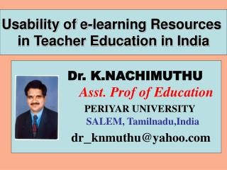 Usability of e-learning Resources  in Teacher Education in India