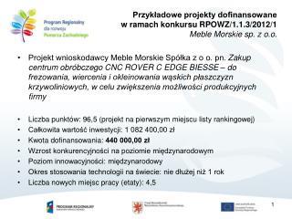 Przykładowe projekty dofinansowane  w ramach konkursu RPOWZ/1.1.3/2012/1 Meble Morskie sp. z o.o .