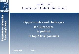 Opportunities and challenges  for Europeans  to publish  in top A level journals