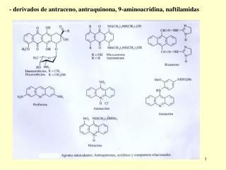 - derivados de antraceno, antraquinona, 9-aminoacridina, naftilamidas