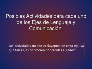 Posibles Actividades para cada uno de los Ejes de Lenguaje y Comunicación.