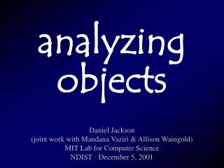 analyzing objects
