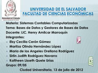 Universidad de El Salvador Facultad de Ciencias Económicas