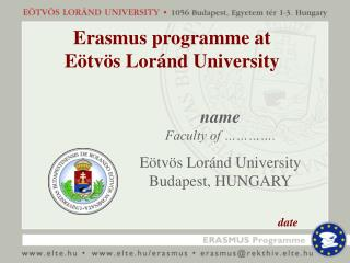 Erasmus programme at Eötvös Loránd University