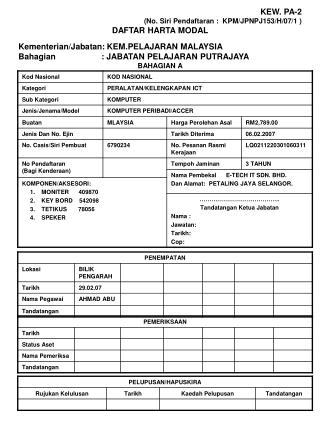 KEW. PA-2 (No. Siri Pendaftaran :  KPM/JPNPJ153/H/07/1 ) DAFTAR HARTA MODAL