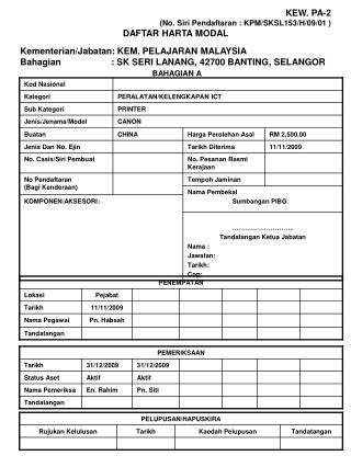 KEW. PA-2 (No. Siri Pendaftaran : KPM/SKSL153/H/09/01 ) DAFTAR HARTA MODAL