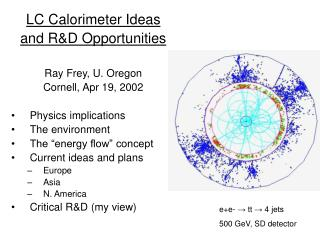 LC Calorimeter Ideas and R&D Opportunities Ray Frey, U. Oregon Cornell, Apr 19, 2002
