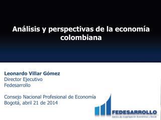 Leonardo Villar Gómez  Director Ejecutivo  Fedesarrollo Consejo Nacional Profesional de Economía