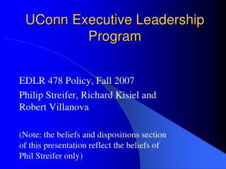 UConn  Executive Leadership Program