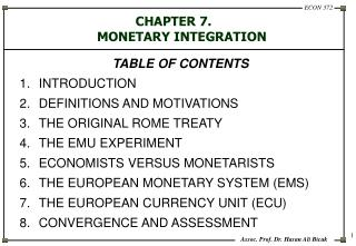 CHAPTER 7.  MONETARY INTEGRATION