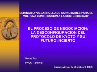 """SEMINARIO """"DESARROLLO DE CAPACIDADES PARA EL MDL: UNA CONTRIBUCION A LA SOSTENIBILIDAD"""""""