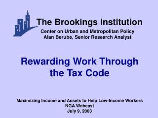 Rewarding Work Through the Tax Code