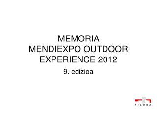 MEMORIA  MENDIEXPO OUTDOOR EXPERIENCE 2012