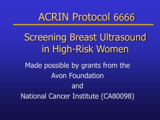 Screening Breast Ultrasound  in High-Risk Women