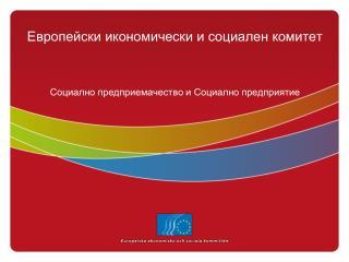 Европейски икономически и социален комитет Социално предприемачество и Социално предприятие